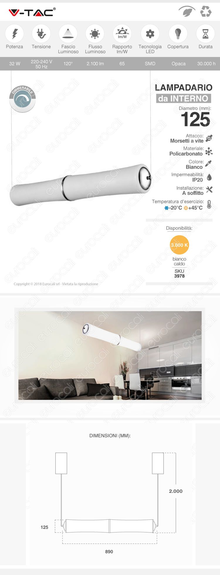 lampada v-tac vt-7049 led da muro