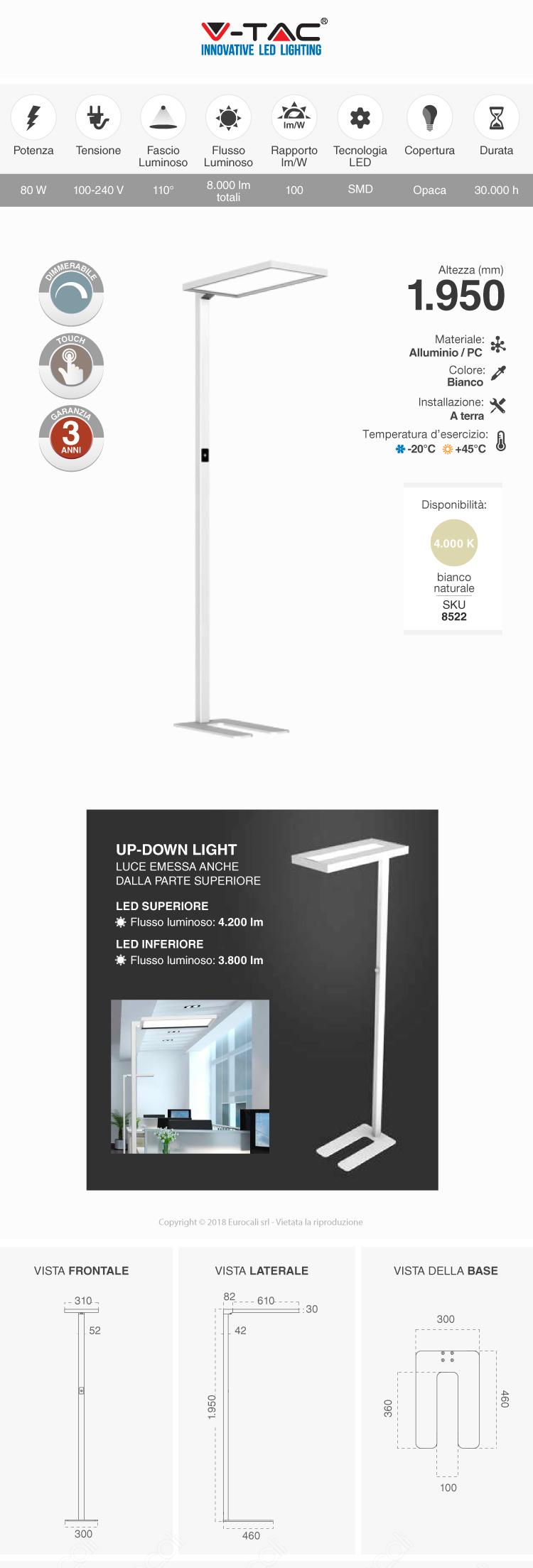 V-TAC VT-8400D-W Piantana LED 80W Touch Dimmerabile con Doppia Illuminazione