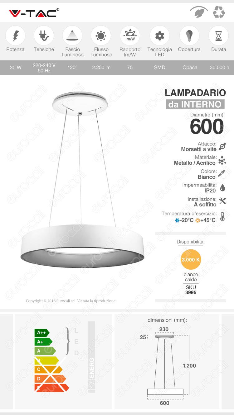 Lampada LED a Sospensione V-Tac VT-32-1 di Colore Bianco 30W Dimmerabile
