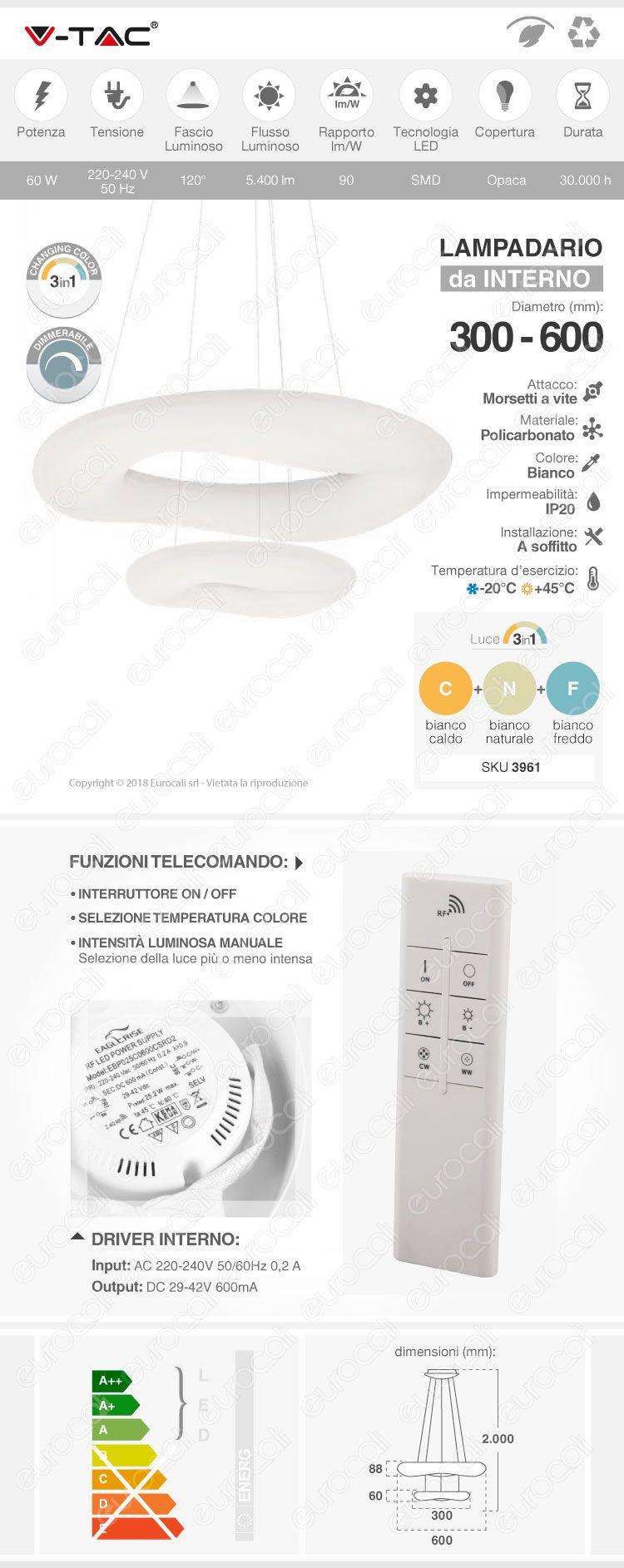 V-Tac VT-7606 Lampadario LED Anello Doppio 60W Sospensione Forma Circolare con Telecomando