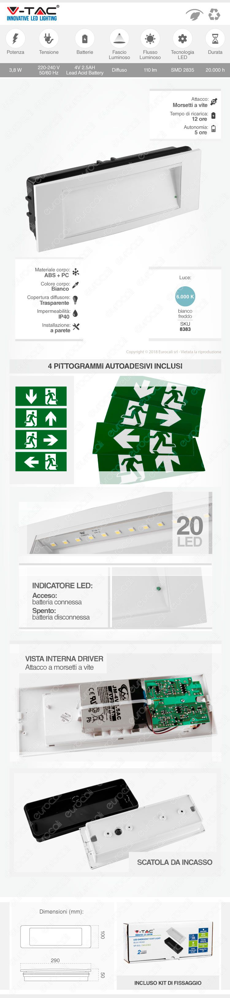 v-tac lampada d'emergenza 110lm