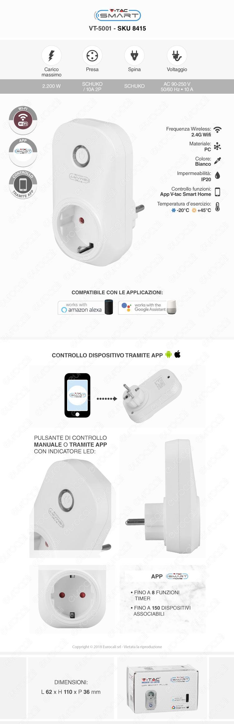 V-Tac Smart VT-5001 Presa 10A Schuko Wi-Fi con Spina Schuko