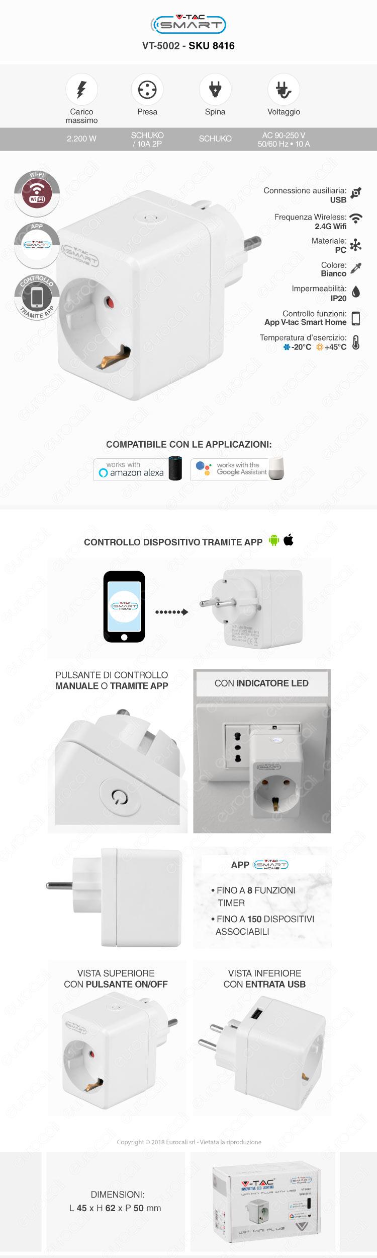V-Tac Smart VT-5002 Presa 10A Schuko e USB Wi-Fi con Spina Schuko
