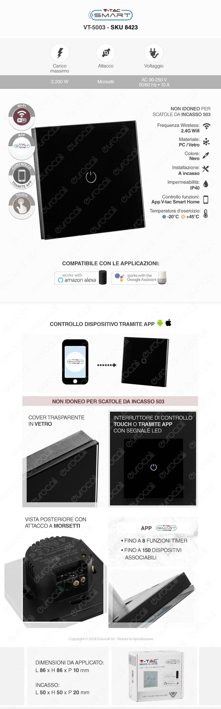 Interruttore Touch Wi-Fi Nero V-Tac Smart VT-5003con 1 Tasto