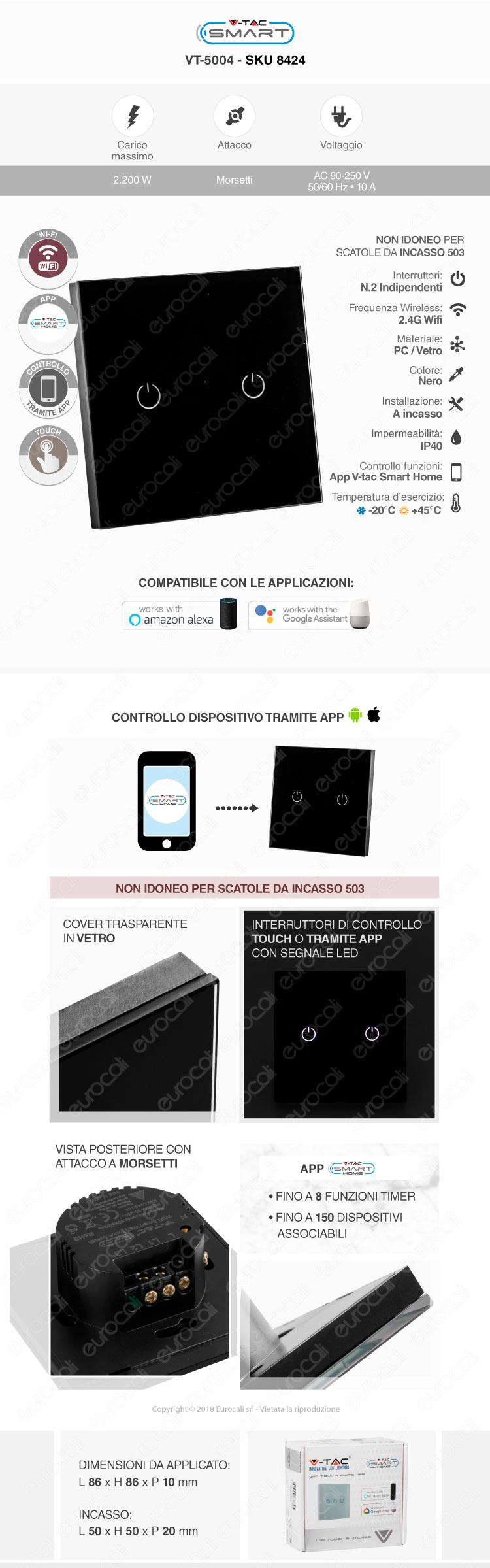 V-Tac Smart VT-5004 Interruttore Colore Nero Touch Wi-Ficon 2 Tasti
