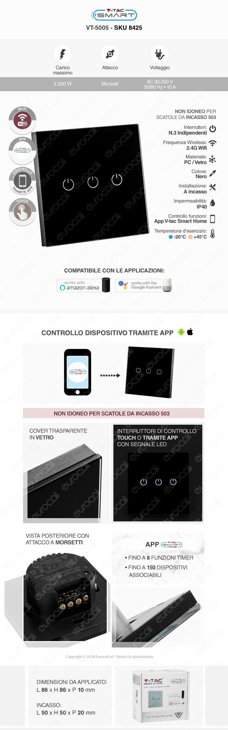 Interruttore Touch Wi-Fi V-Tac Smart VT-5005 Nero con 3 Tasti
