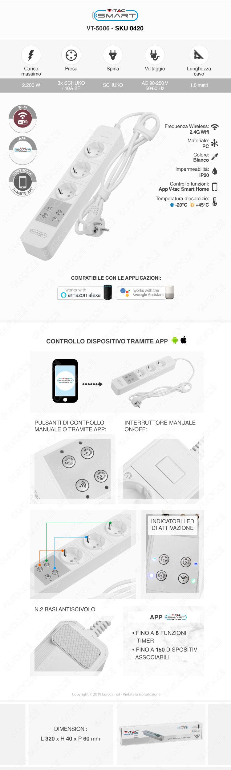 Multipresa 3 Posti Wi-Fi Bianco con Interruttore V-Tac Smart VT-5006