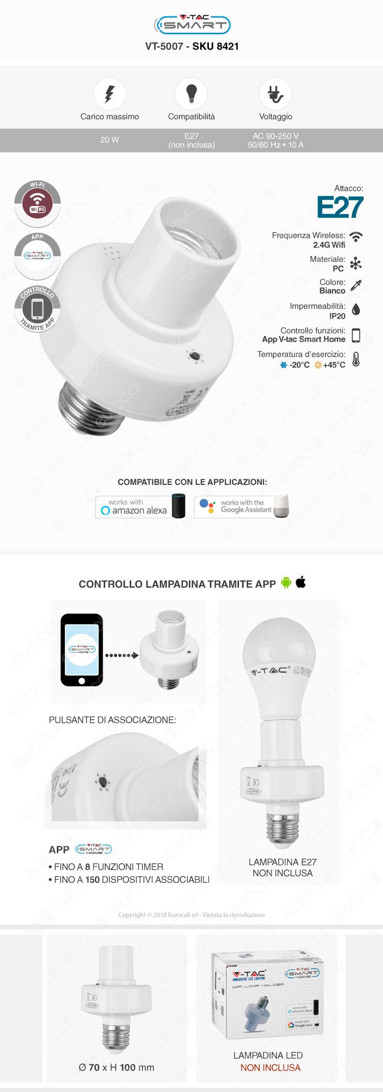 Portalampada per E27 Wi-Fi domotica V-Tac Smart VT-5007