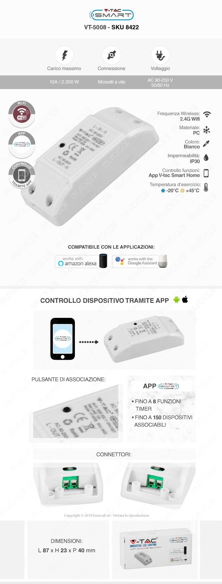 Interruttore Wi-Fi per domotica casa V-Tac Smart VT-5008