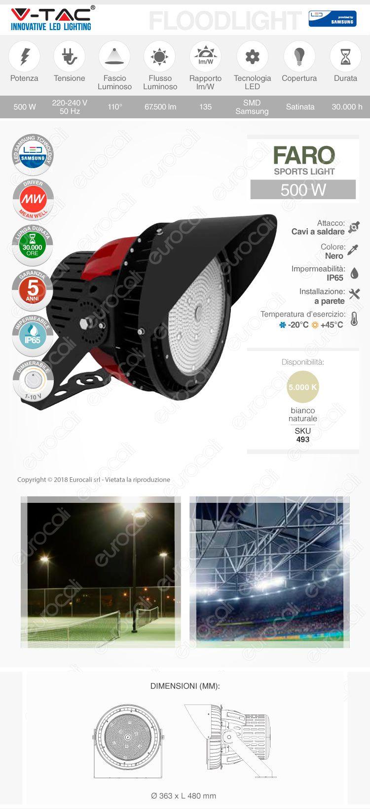 V-Tac VT-501D Faro LED 110° Sport Light 500W SMD Dimmerabile High Bay Chip Samsung