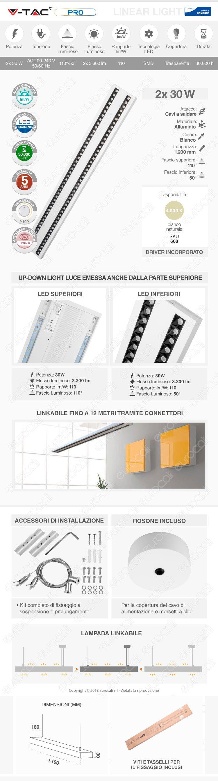 Lampada LED a Sospensione Linear Light 60W Chip Samsung White Body Dimmerabile V-Tac PRO VT-7-62