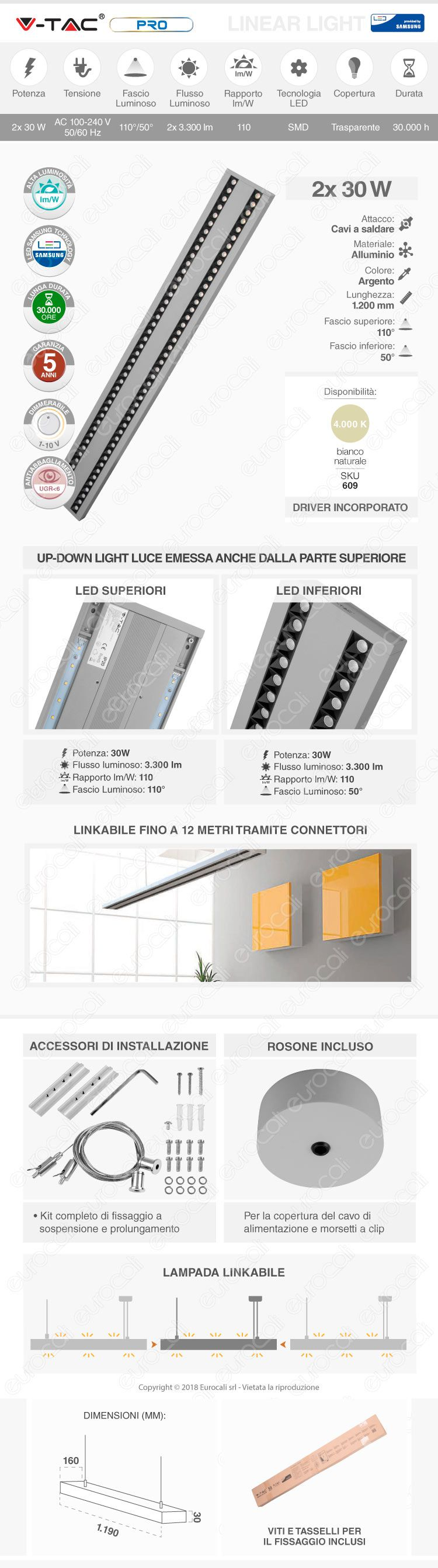 V-Tac PRO VT-7-62 Lampada LED a Sospensione Linear Light 60W Chip Samsung Silver Body Dimmerabile