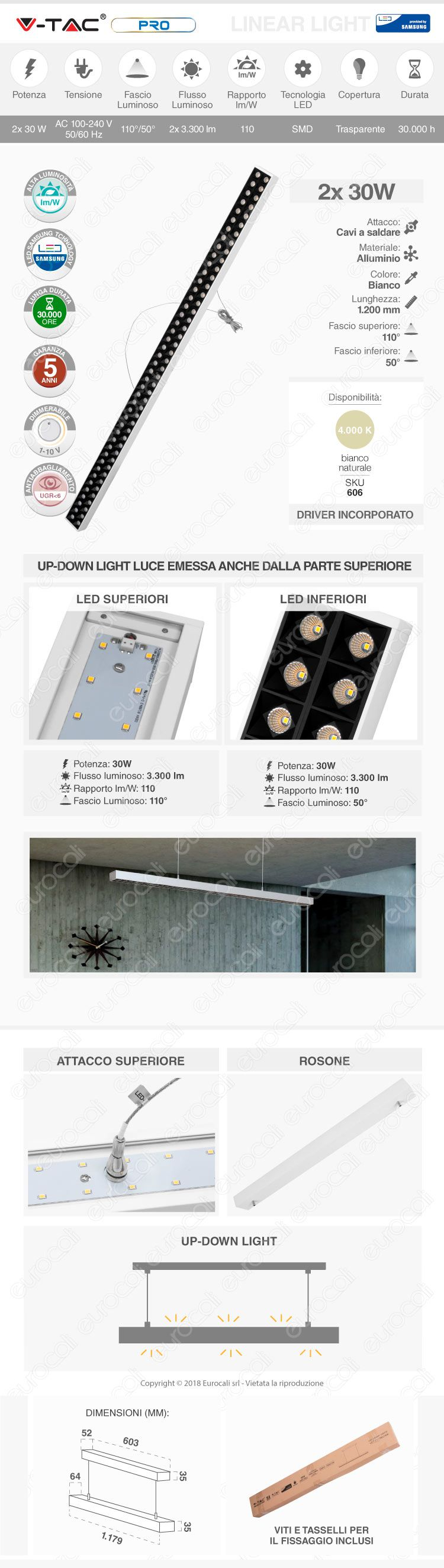 V-Tac PRO VT-7-61 Lampada LED a Sospensione Linear Light 60W Chip Samsung White Body Dimmerabile