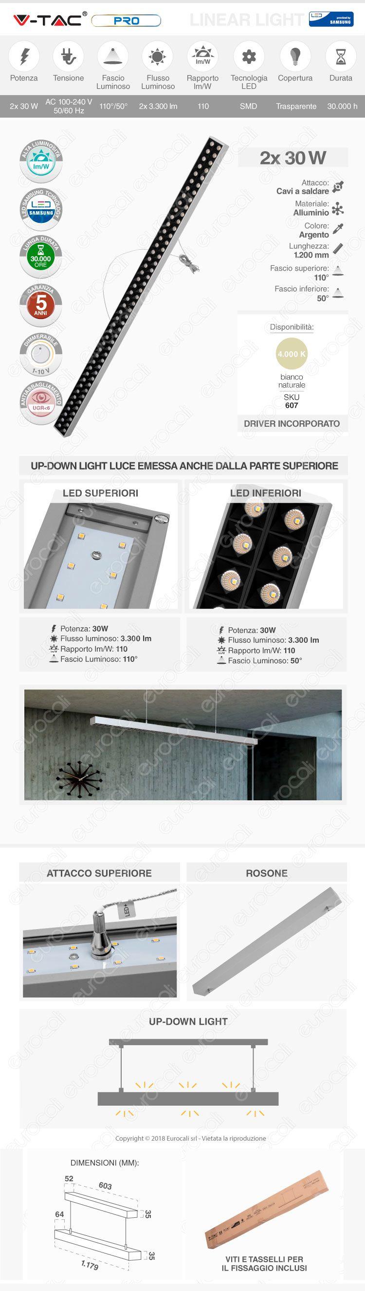 V-Tac PRO VT-7-61 Lampada LED a Sospensione Linear Light 60W Chip Samsung Silver Body Dimmerabile