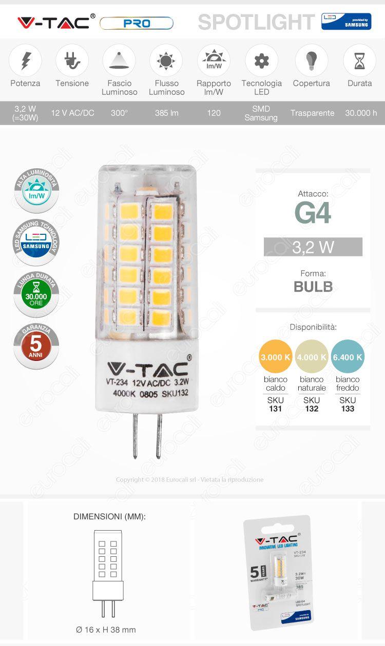 V-Tac PRO VT-234 Lampadina LED G4 3,2W Bulb Chip Samsung