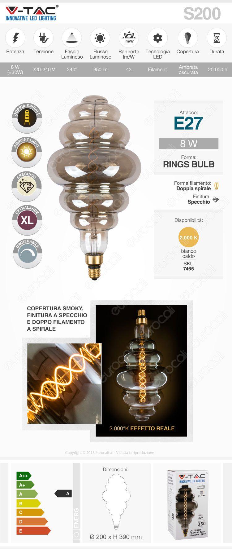 V-Tac VT-2188D Lampadina E27 Filamento LED 8W Rings Bulb Vetro Ambrato Oscurato Dimmerabile