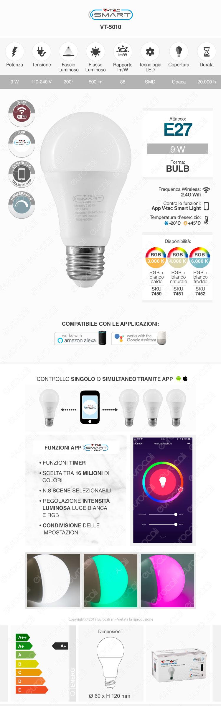 V-Tac Smart VT-5010 Lampadina LED Wi-Fi E27 9W Bulb A60 RGB+W Dimmerabile