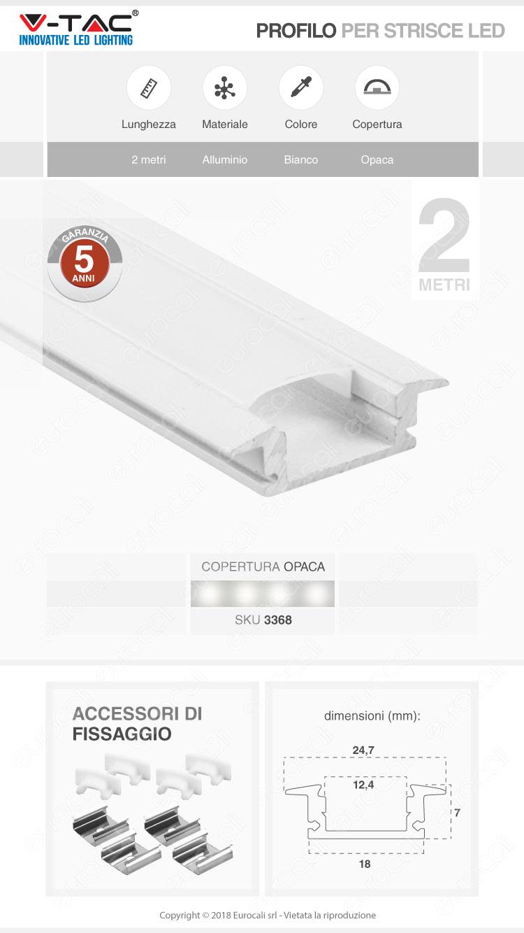 V-Tac VT-8106W 4 Profili in Alluminio per Strisce LED Colore Bianco - Lunghezza 2 metri