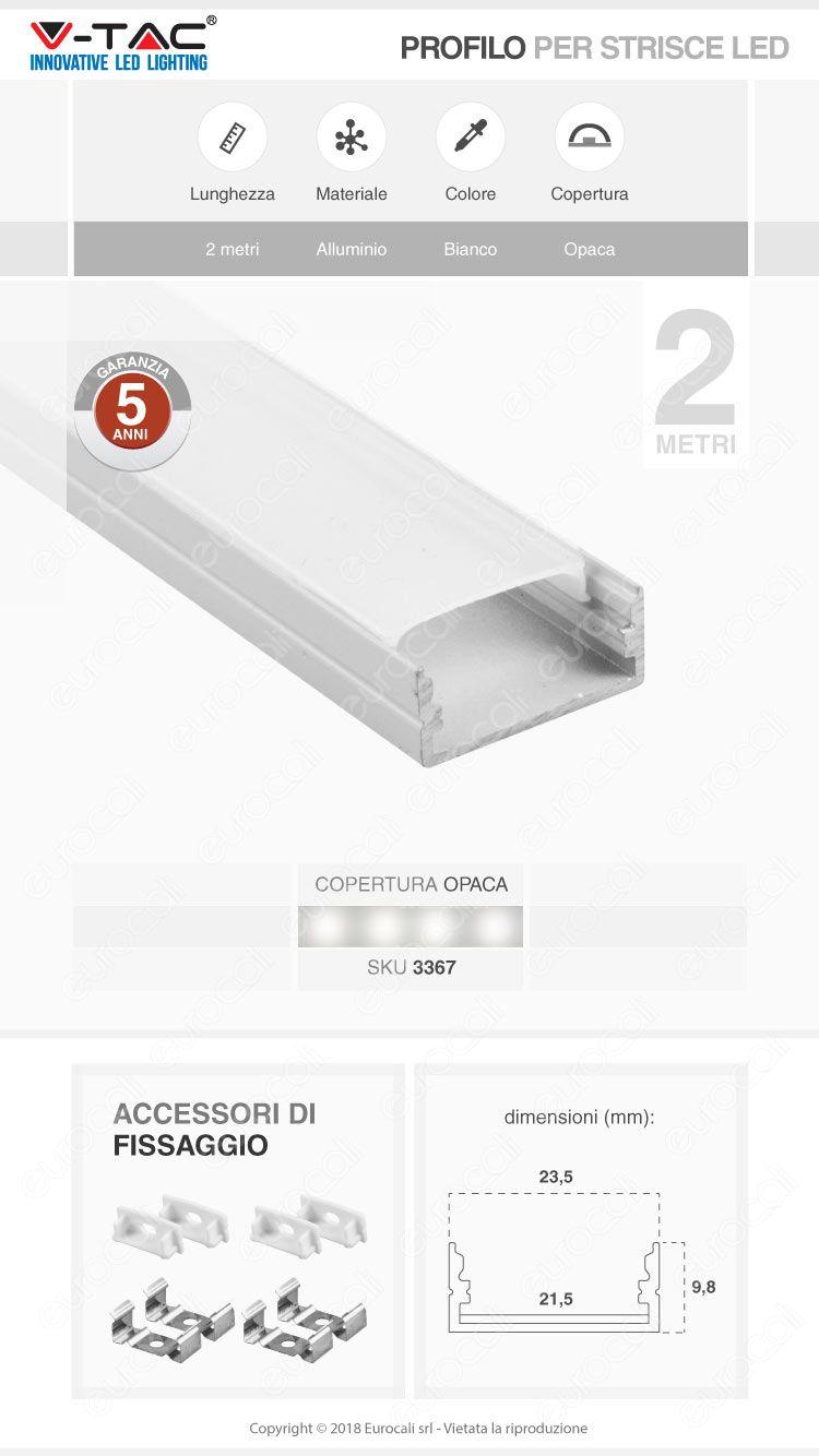 V-Tac VT-8108W 4 Profili in Alluminio per Strisce LED Colore Bianco - Lunghezza 2 metri