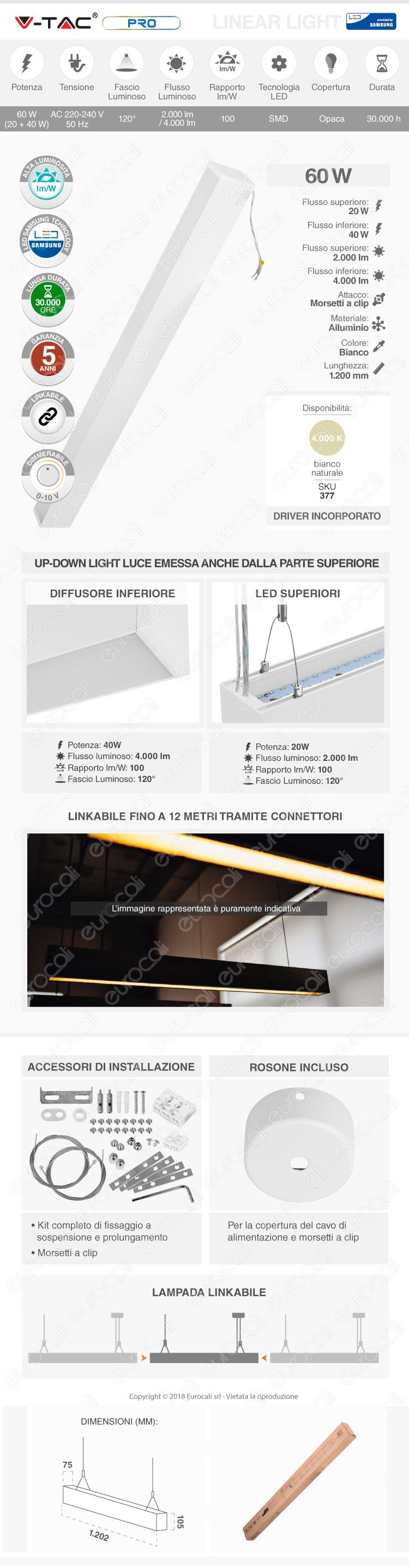 V-Tac PRO VT-7-60 Lampada LED a Sospensione Linear Light 60W Chip Samsung White Body Dimmerabile