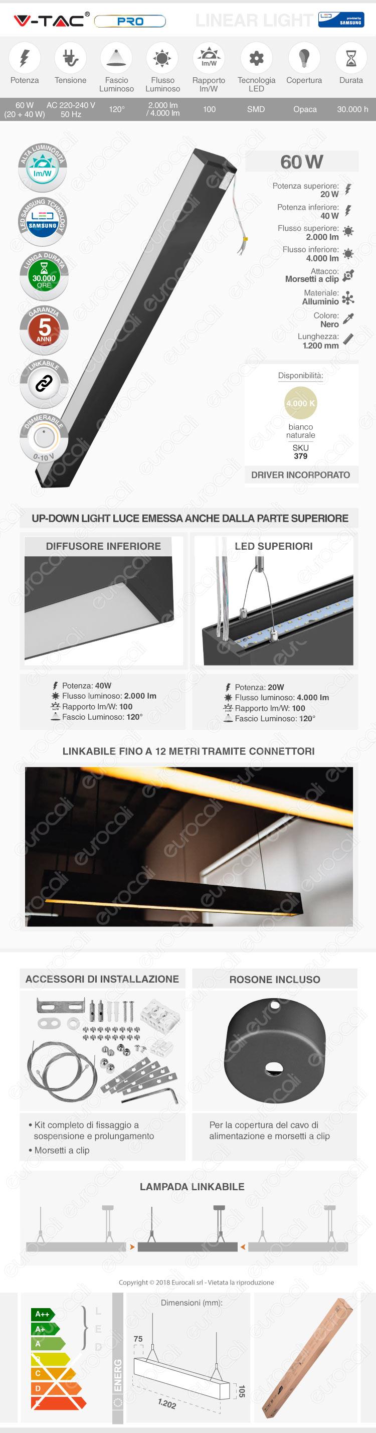 V-Tac PRO VT-7-60 Lampada LED a Sospensione Linear Light 60W Chip Samsung Black Body Dimmerabile