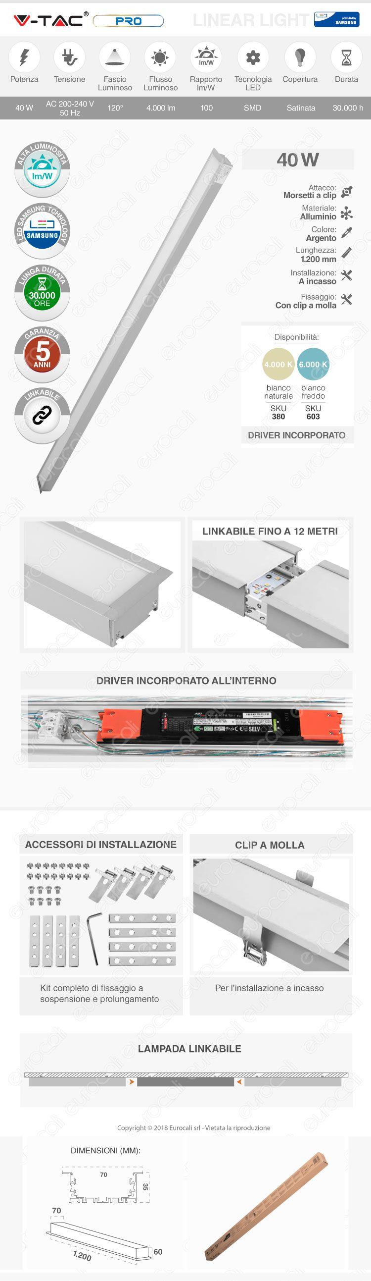 V-Tac PRO VT-7-41 Lampada LED a Incasso Linear Light 40W Chip Samsung Silver Body