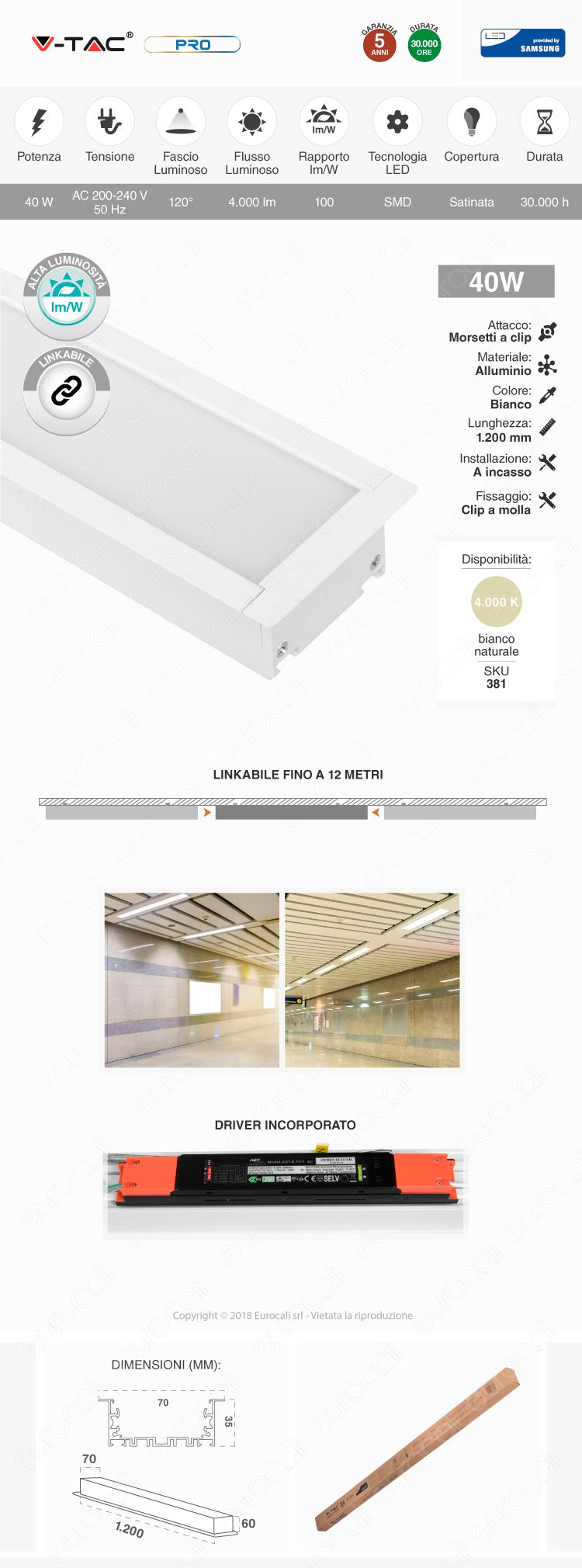 Lampada LED a Sospensione Linear Light 40W Chip Samsung Silver Body V-Tac PRO VT-7-43
