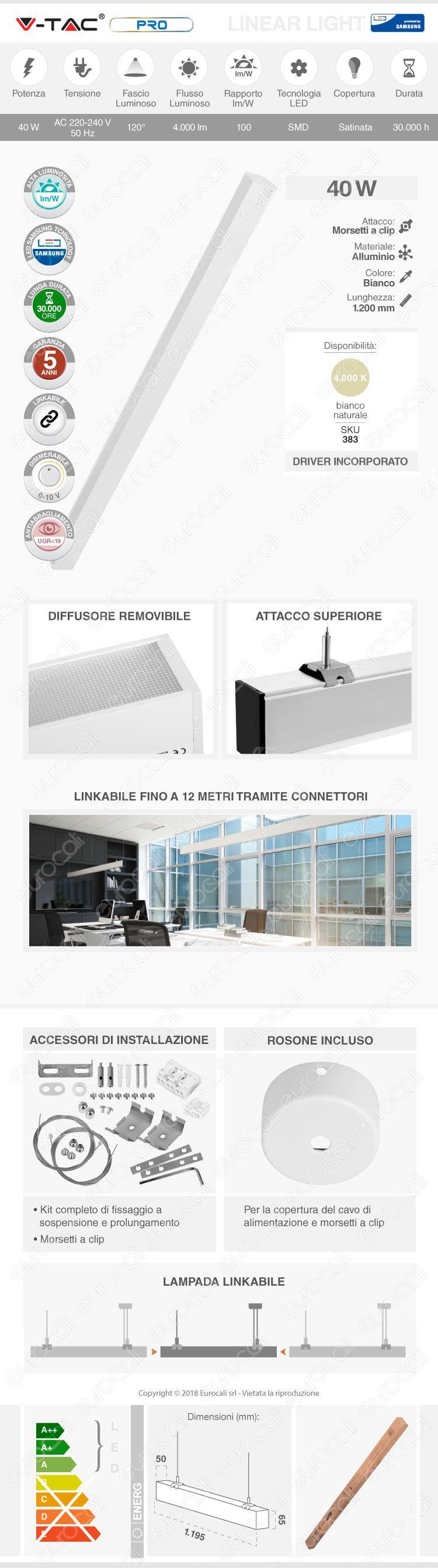 V-Tac PRO VT-7-43 Lampada LED a Sospensione Linear Light 40W Chip Samsung White Body