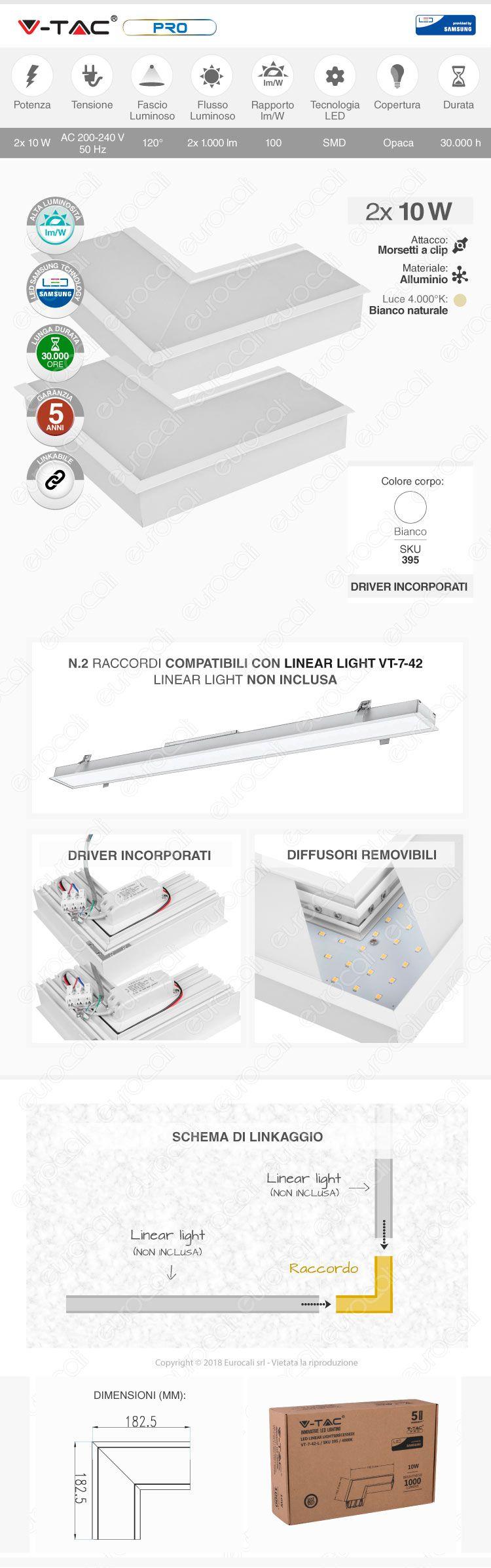 V-Tac PRO VT-7-41X Lampada LED Raccordo a Incasso Linear Light 16W Chip Samsung White Body