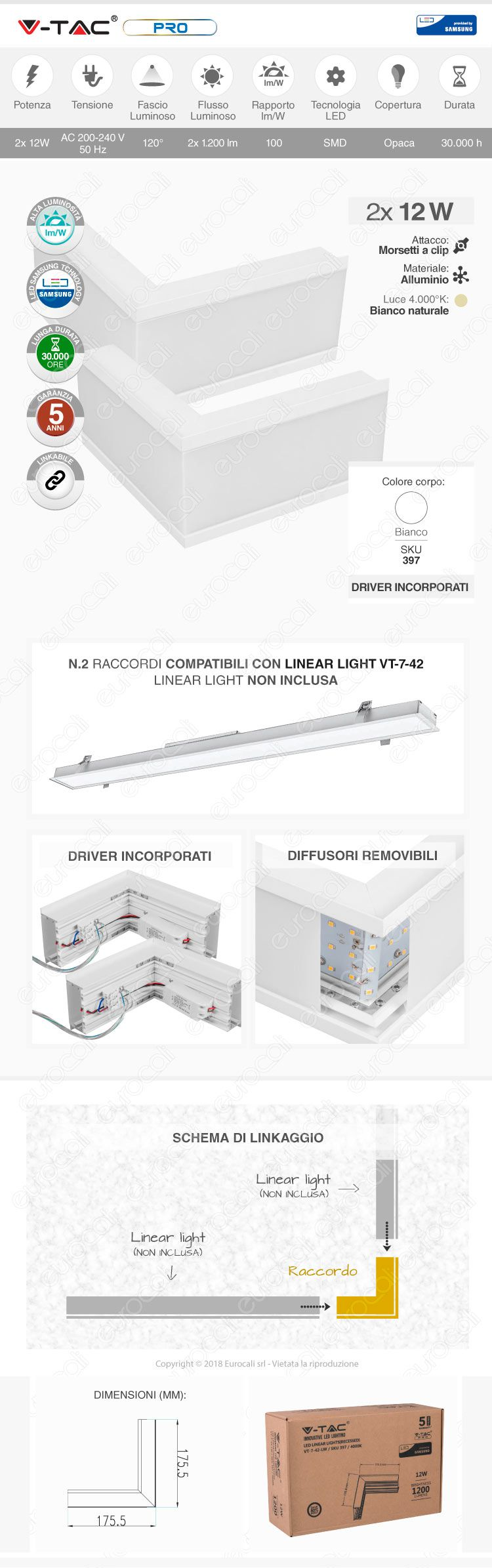 V-Tac PRO VT-7-42LW Coppia di Lampade LED Raccordo a Incasso Linear Light 12W Chip Samsung White Body