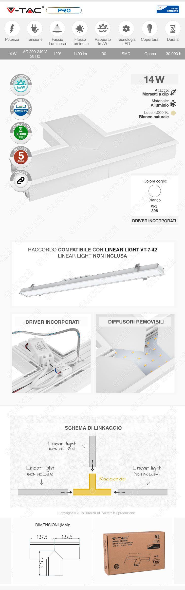 V-Tac PRO VT-7-42T Lampada LED Raccordo a Incasso Linear Light 14W Chip Samsung White Body