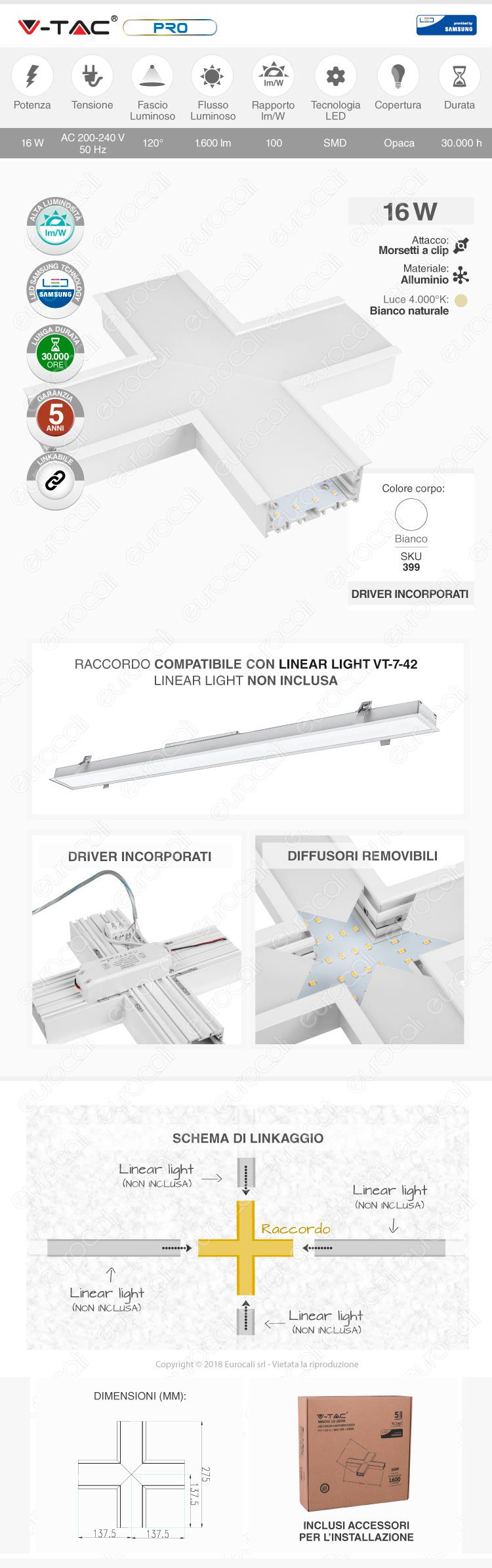 Lampada LED a Sospensione Linear Light 40W Chip Samsung Silver Body V-Tac PRO VT-7-43