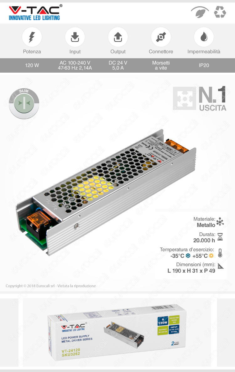 V-Tac VT-24120 Alimentatore 120W Per Uso Interno a 1 Uscita con Morsetti a Vite