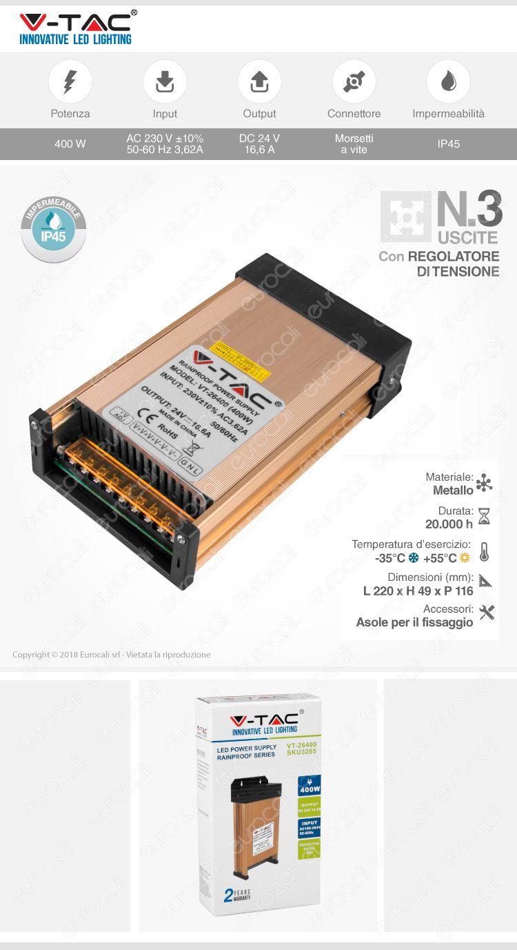 V-Tac VT-26400 Alimentatore 400W 24V Rainproof IP45 a 3 Uscite con Morsetti a Vite