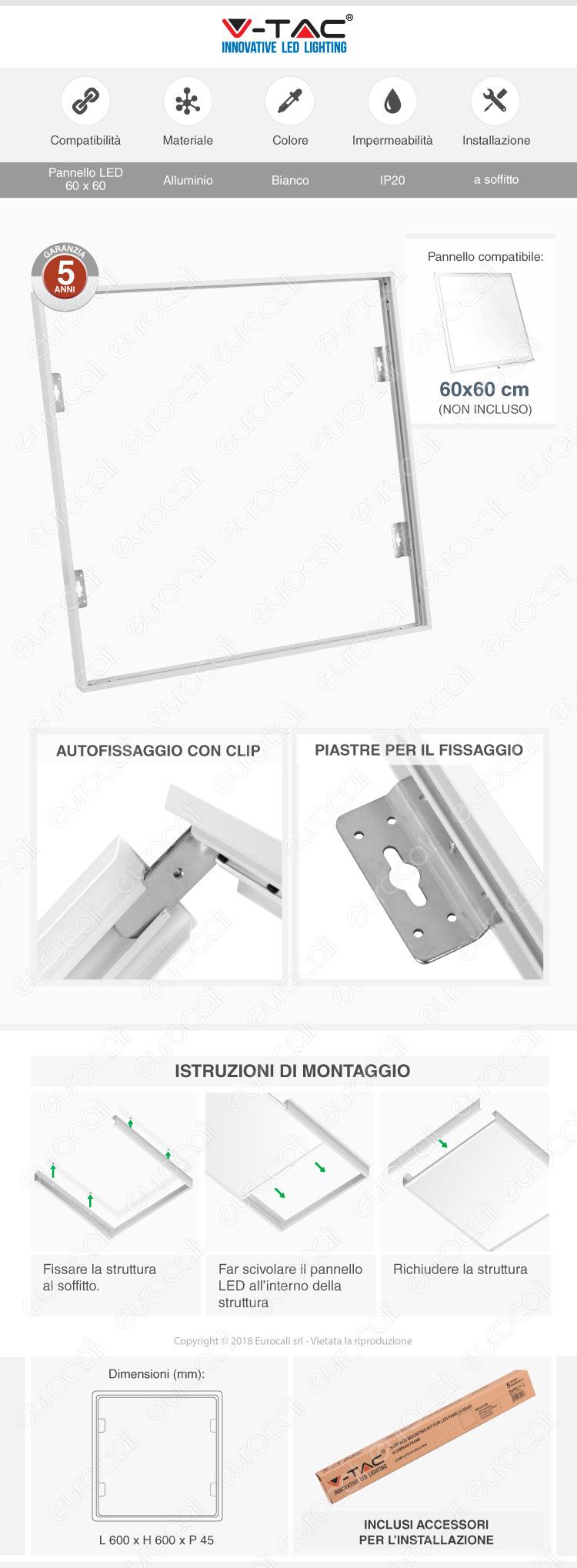 V-Tac Supporto in Metallo con Clip per Montaggio Esterno Pannelli LED 60x60