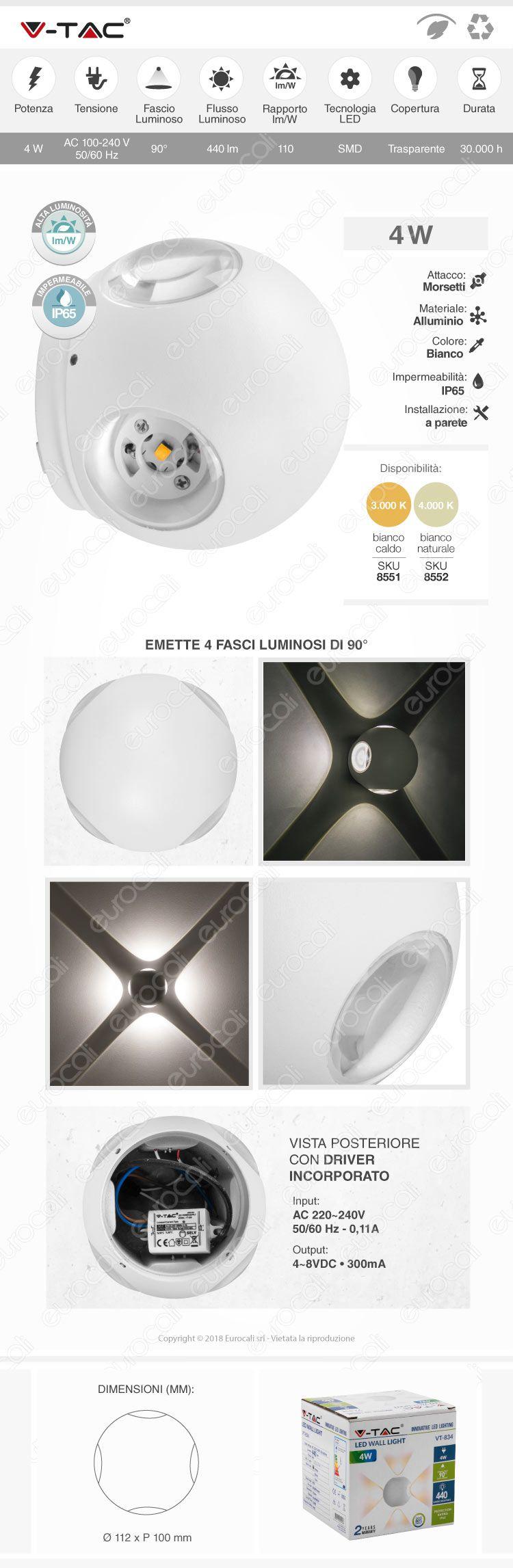 V-Tac VT-834 Lampada da Muro Wall Light LED 4W Forma Sferica Colore Bianco IP65