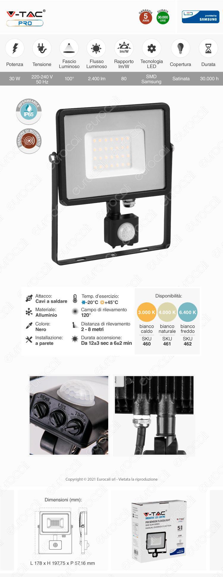 V-Tac PRO VT-30-S Faretto LED 30W Ultra Sottile Slim Chip Samsung con Sensore Colore Nero