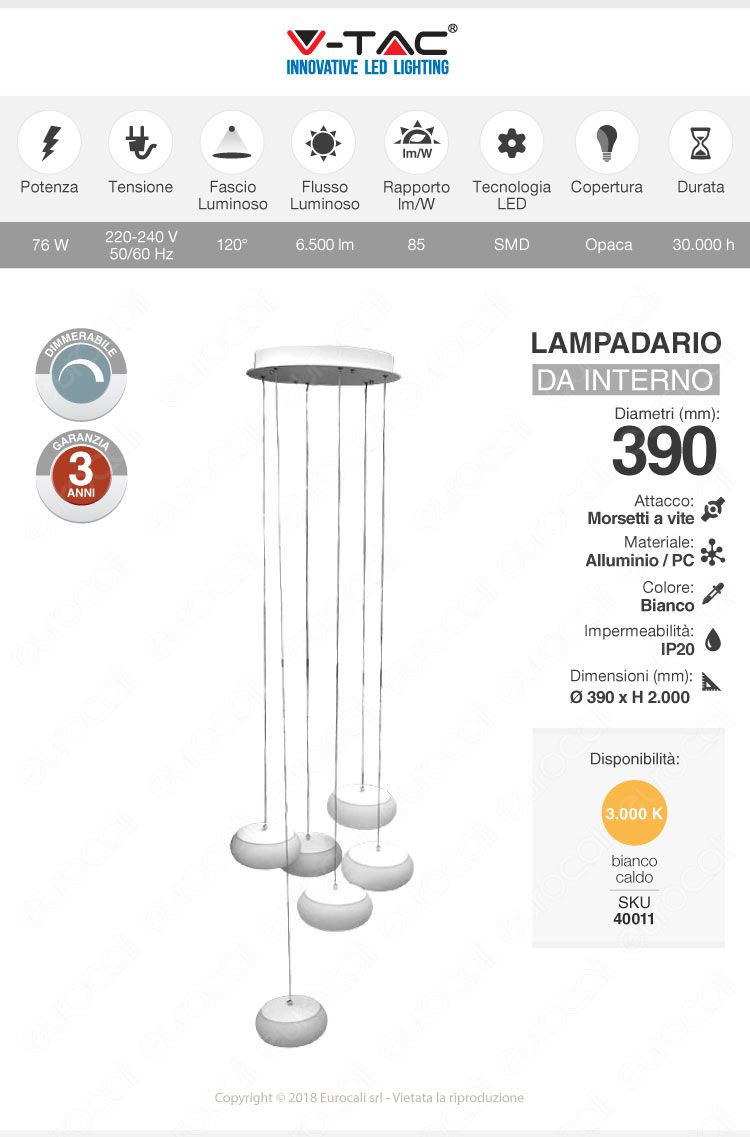 V-Tac Pannello LED Rotondo a Sospensione Ø350mm 25W SMD con Driver Colore Bianco
