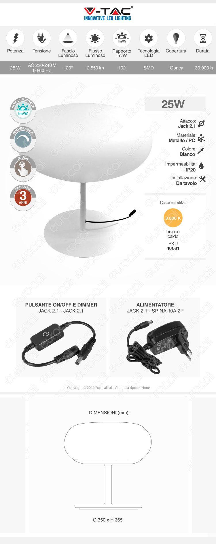V-TAC VT-7026 Lampada da Tavolo LED 18W Touch Dimmerabile