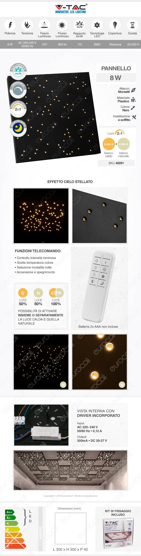plafoniera LED 8w V-Tac cielo stellato