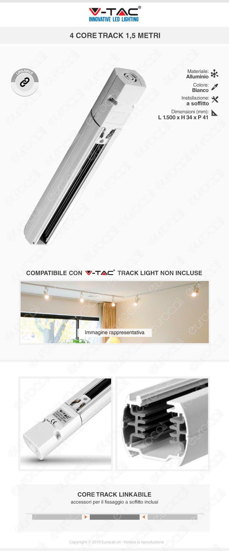 V-Tac PRO VT-7-42LN Coppia di Lampade LED Raccordo a Incasso Linear Light 10W Chip Samsung White Body