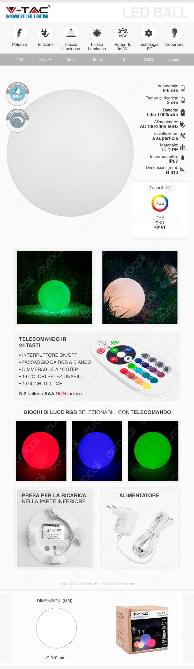 Lampada LED Sfera RGB+W 1W VT-7803 V-Tac Ricaricabile e Telecomando