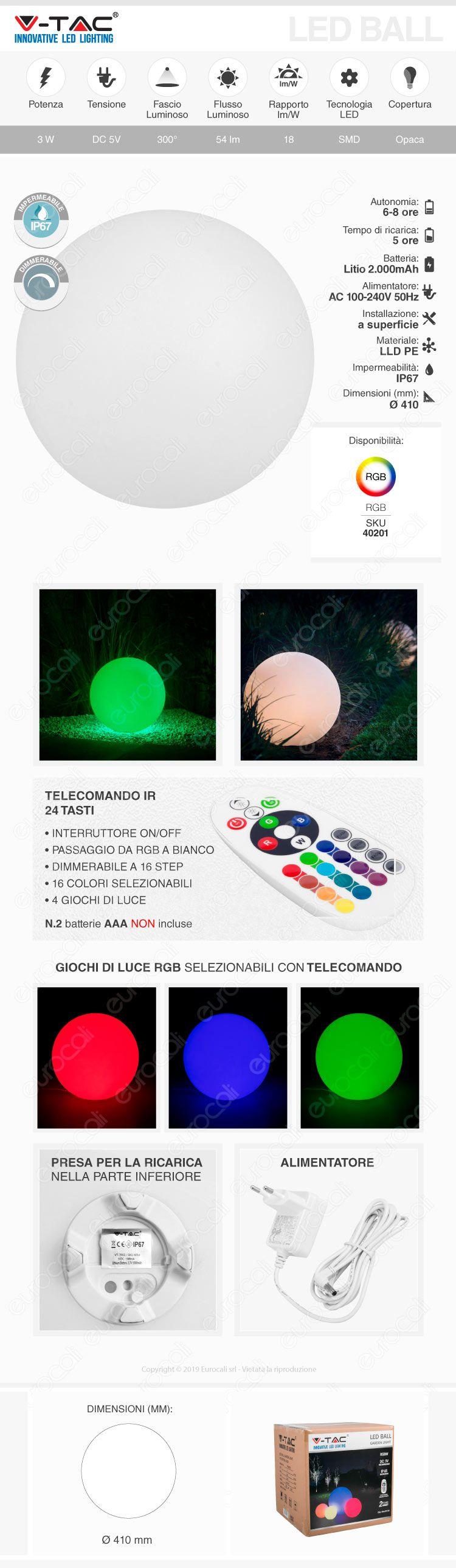 V-Tac VT-7807 Sfera Multicolor LED RGB+W 3W Ricaricabile con Telecomando IP67