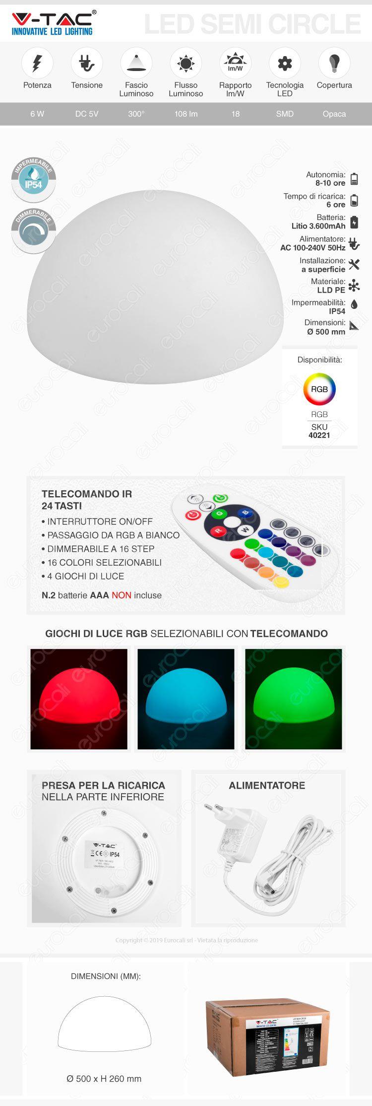 v-tac semi sfera multicolor rgb 6w