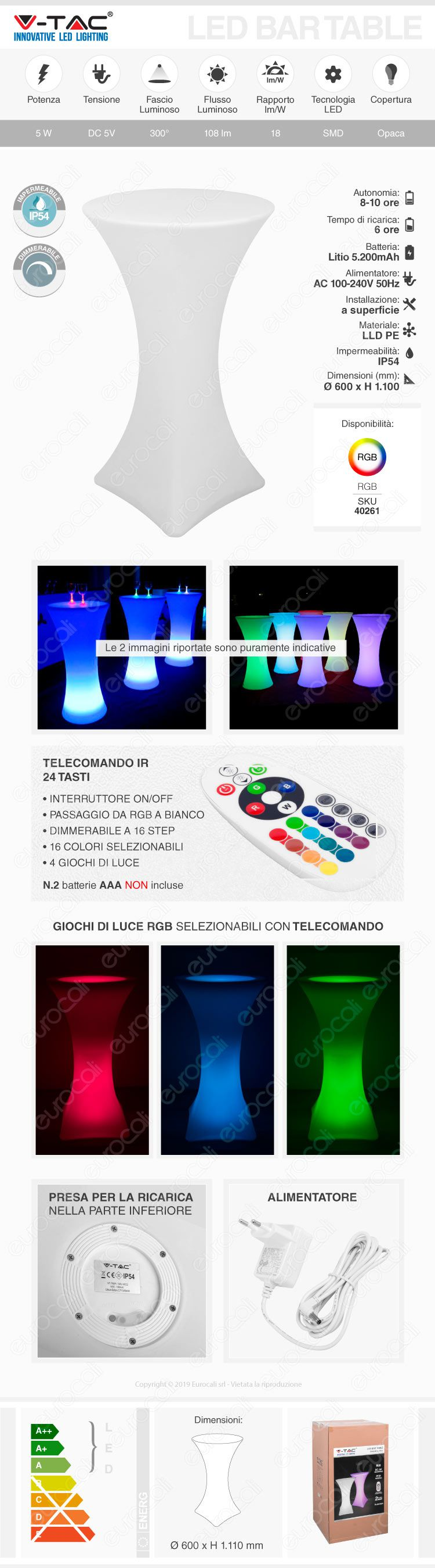 V-TAC bar table rgb 5w