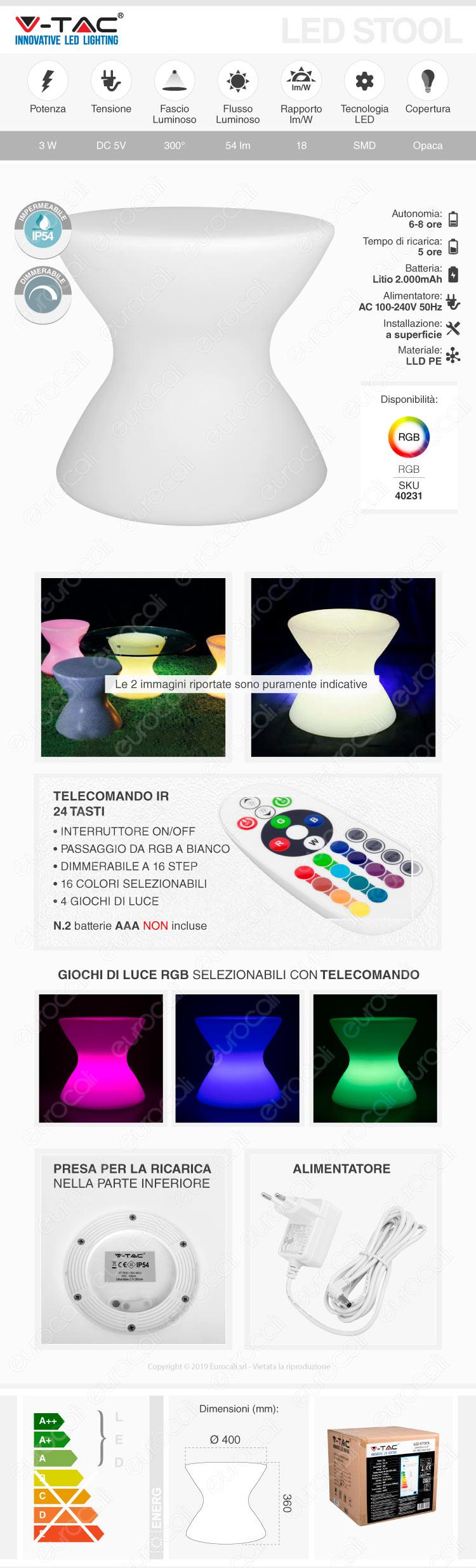 V-Tac VT-7810 Sgabello Multicolor LED RGB 3W Ricaricabile con Telecomando IP54