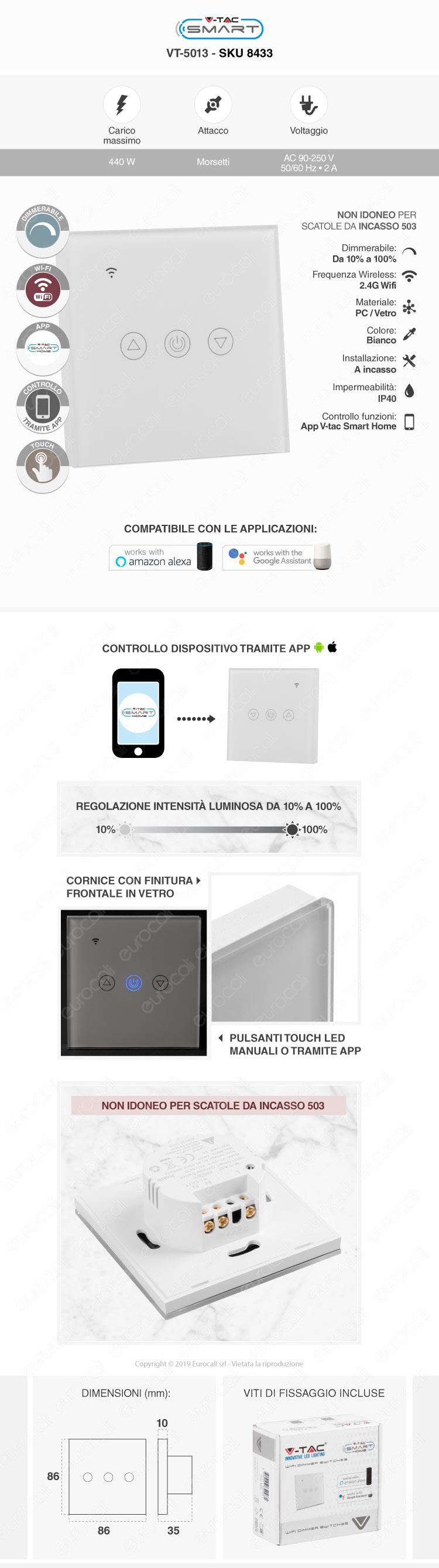 V-Tac Smart VT-5005 Interruttore Touch Wi-Fi Colore Bianco con 3 Tasti
