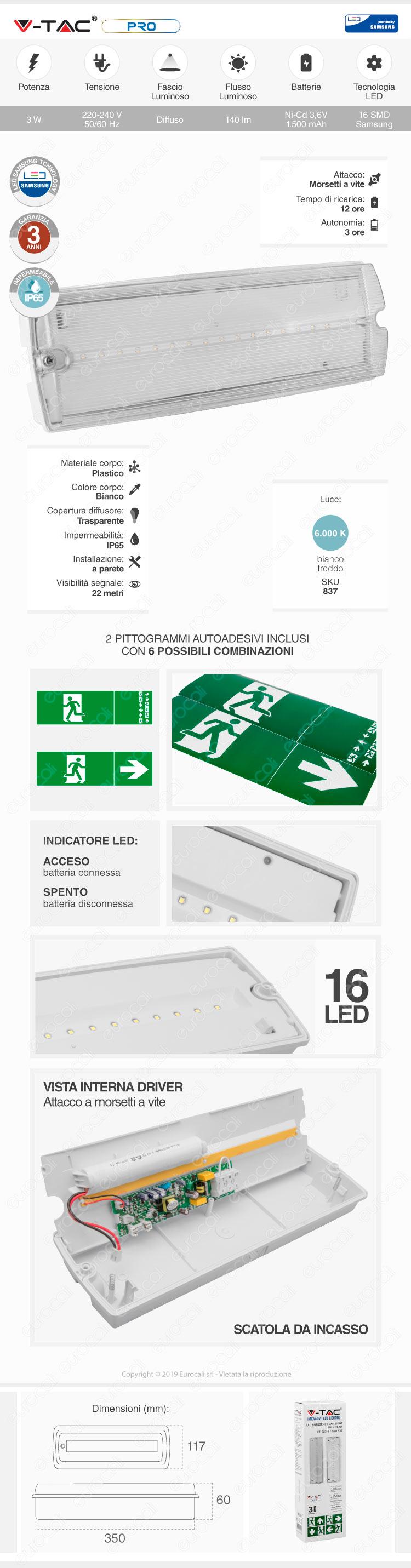 V-Tac PRO VT-523-S Lampada LED d'Emergenza Anti Black Out Grado Protezione IP65