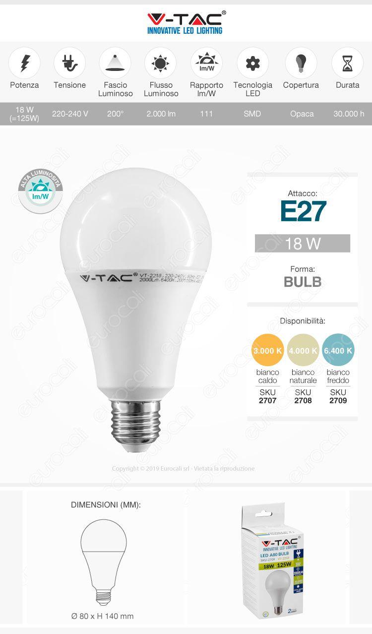 V-Tac PRO VT-298 Lampadina LED E27 18W Bulb A80 Chip Samsung
