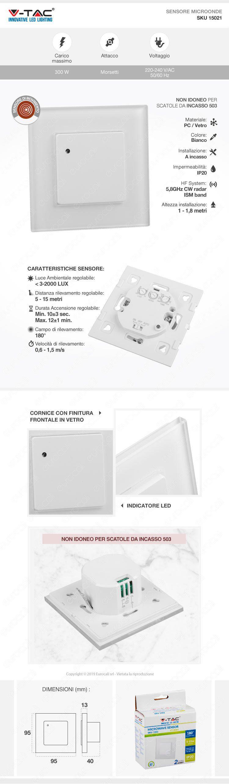 V-Tac VT-8084 Sensore di Movimento a Microonde Colore Bianco